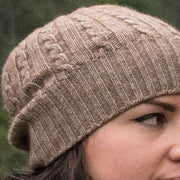 Cabled Bison/Silk Knitted Hat Bison Gear The Buffalo Wool Co.