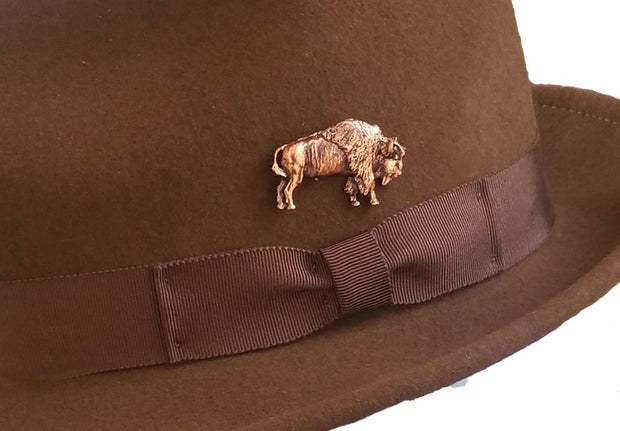 Copper Bison hat pin