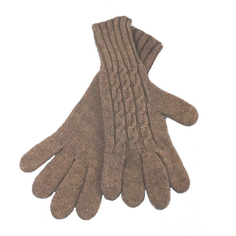 Ladies Cabled Gloves - Bison/Silk blend