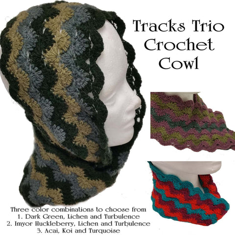 Tracks Trio Crochet Cowl - PDF Pattern