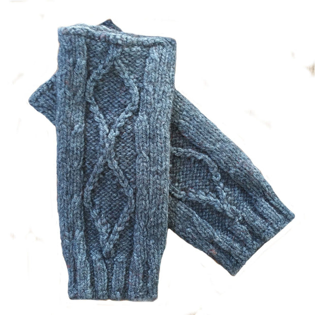 Diamond cabled knitted fingerless gloves Bison Gear The Buffalo Wool Co. Blue