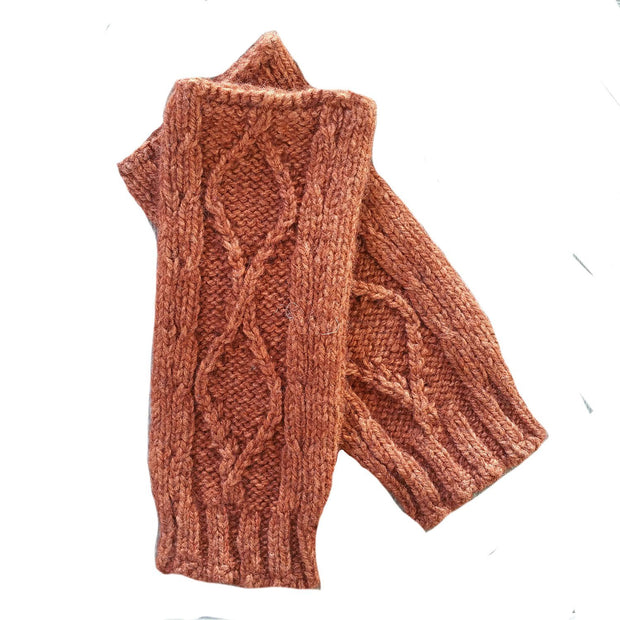 Diamond cabled knitted fingerless gloves Bison Gear The Buffalo Wool Co. Copper