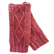 Diamond cabled knitted fingerless gloves Bison Gear The Buffalo Wool Co. Red