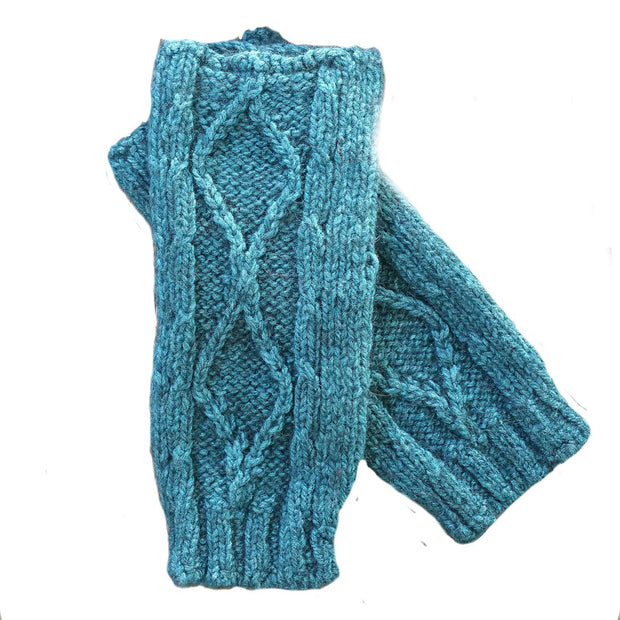 Diamond cabled knitted fingerless gloves Bison Gear The Buffalo Wool Co. Teal