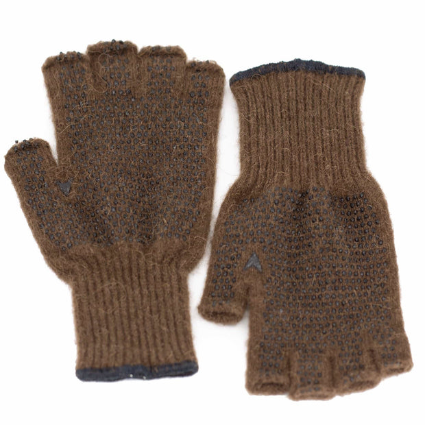 Extreme Gear Bison Down Fingerless Gloves with PVC grip dots (Brown) Bison Gear The Buffalo Wool Co. Small