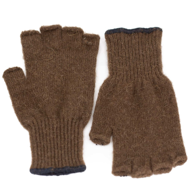 Extreme Gear Bison Down Fingerless Gloves with PVC grip dots (Brown) Bison Gear The Buffalo Wool Co.