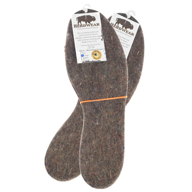 Bison/Wool Insoles Bison Footwear The Buffalo Wool Co. 2 prs / Mens Large