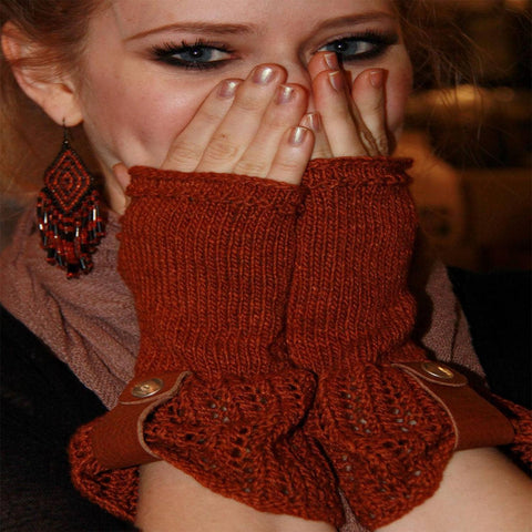 Leather and Lace fingerless Mitts - PDF knitting pattern