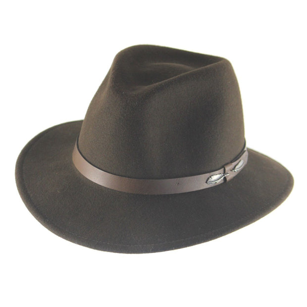 "The ""Outback"" Olive brown - Adventures Fedora Bison Gear The Buffalo Wool Co. Small"
