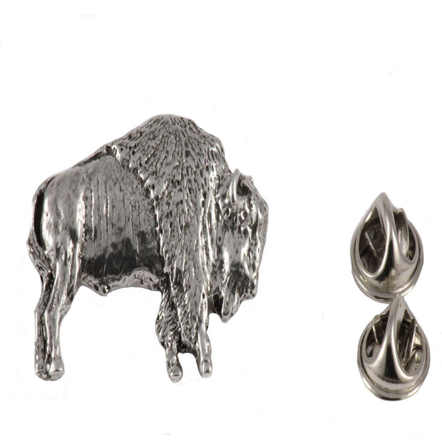 Bison hat and tie pin Accessories The Buffalo Wool Co. Large Pewter Hat pin