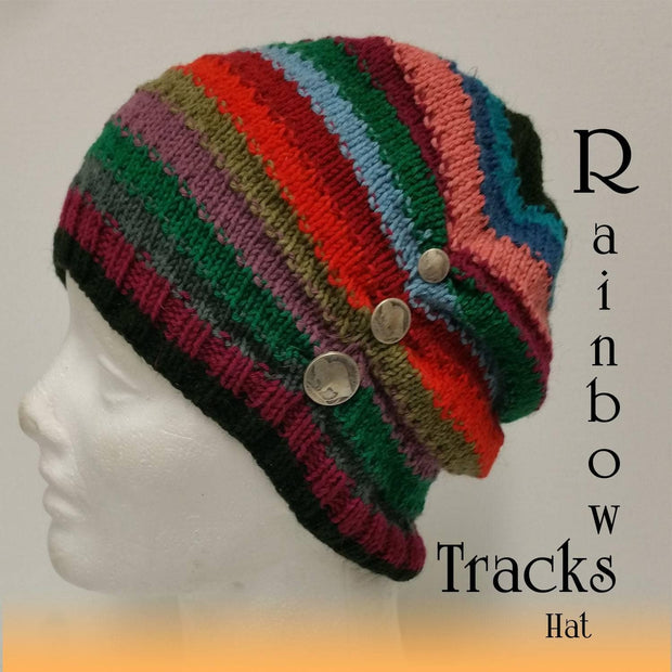 Rainbow Tracks Hat pdf pattern Patterns & Kits Handiworks Ltd
