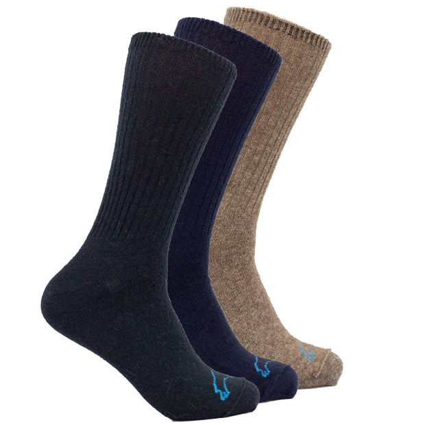 Casual Crew Bison/Merino blend Socks Bison Footwear The Buffalo Wool Co. Natural, Navy, Black Large 3 Pair