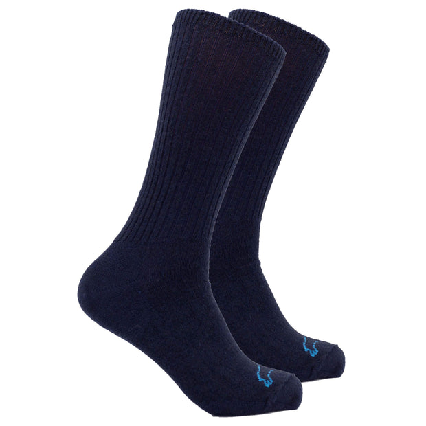 Casual Crew Bison/Merino blend Socks Bison Footwear The Buffalo Wool Co. Navy Medium 1 Pair