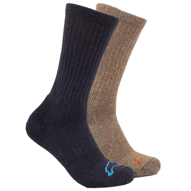 Pro-Gear Crew Bison/Silk Socks Bison Footwear The Buffalo Wool Co.