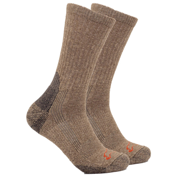 Pro-Gear Crew Bison/Silk Socks Bison Footwear The Buffalo Wool Co. Medium Natural