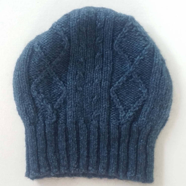 Diamond cabled knitted hat - Bison & Muga Silk Bison Gear The Buffalo Wool Co. Blue