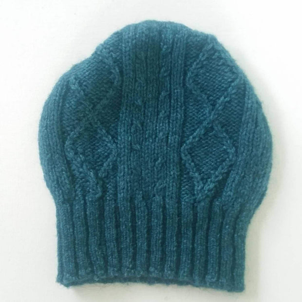 Diamond cabled knitted hat - teal