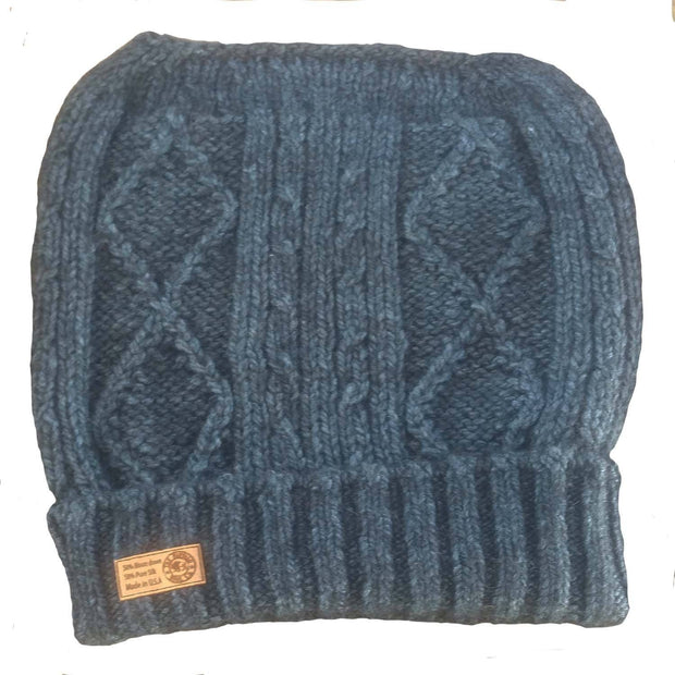 Diamond cabled knitted messy bun hat - Bison & Silk Bison Gear The Buffalo Wool Co. Blue