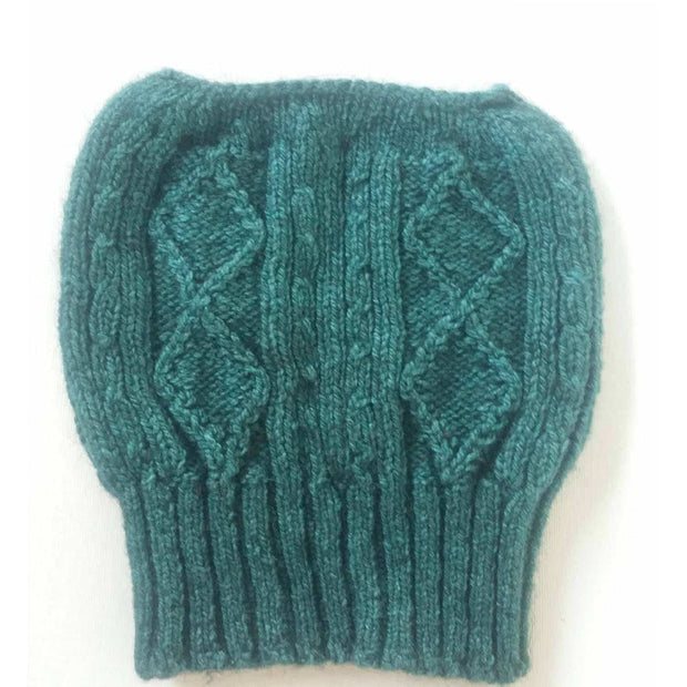 Diamond cabled knitted messy bun hat - Bison & Silk Bison Gear The Buffalo Wool Co. Teal