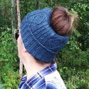 Diamond cabled knitted messy bun hat - Bison & Silk Bison Gear The Buffalo Wool Co.