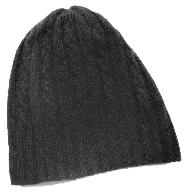 Cabled Bison/Silk Knitted Hat Bison Gear The Buffalo Wool Co. Black