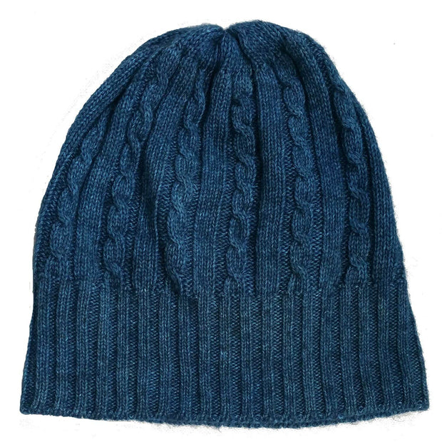 Cabled Bison/Silk Knitted Hat Bison Gear The Buffalo Wool Co. Blue