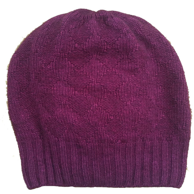 Buffalo Wool Co bison & silk slouchy knitted hat burgandy