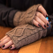 Diamond cabled knitted fingerless gloves Bison Gear The Buffalo Wool Co.
