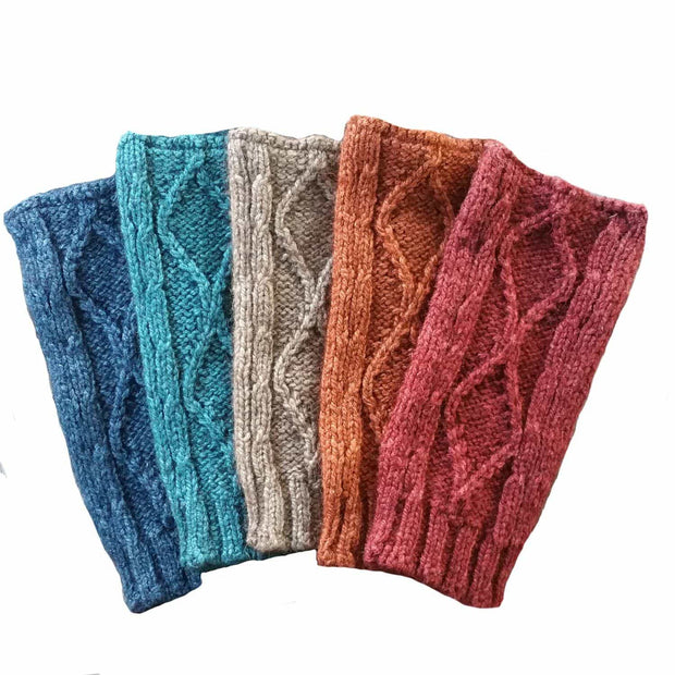 Diamond cabled knitted fingerless gloves color choice