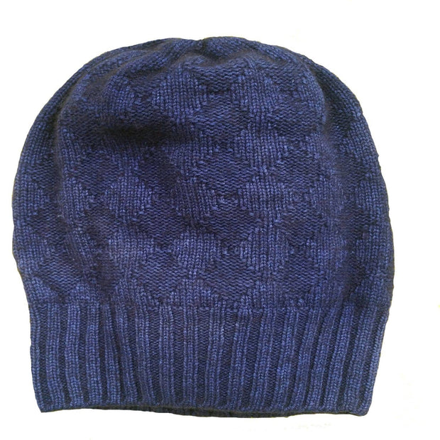 Buffalo Wool Co bison & silk slouchy knitted hat blue