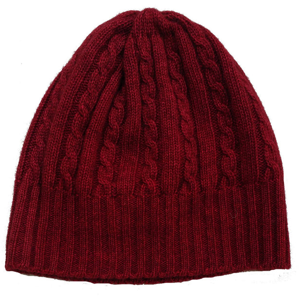 Cabled Bison/Silk Knitted Hat Bison Gear The Buffalo Wool Co. Red