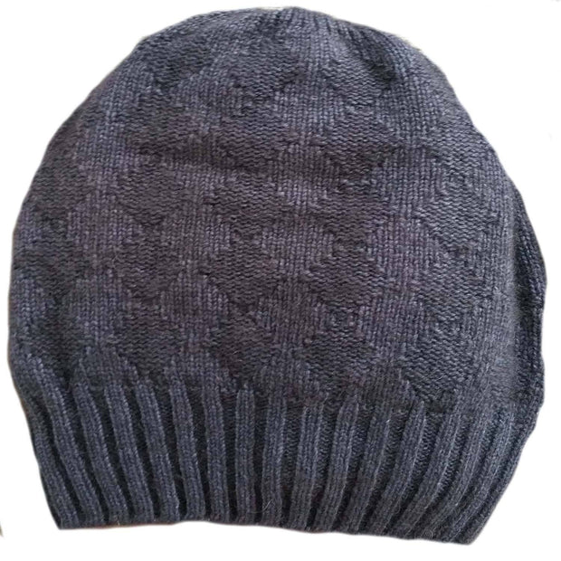 Slouchy Bison/Silk Knitted Hat Bison Gear The Buffalo Wool Co. Charcoal