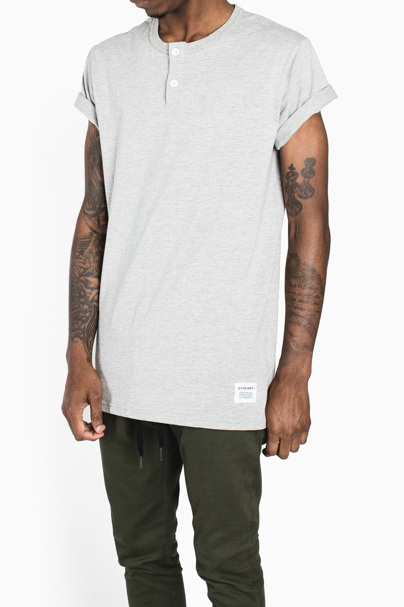 Henley Tee :: Heather Grey