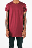Long Fit Tee | Burgundy