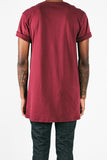 Long Fit Tee :: Burgundy