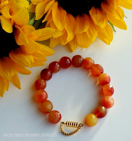 ORANGE AGATE GOLD BRACELET