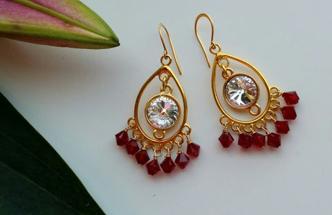 GARNET SWAROVSKI RIVOLI  CRYSTAL EARRINGS