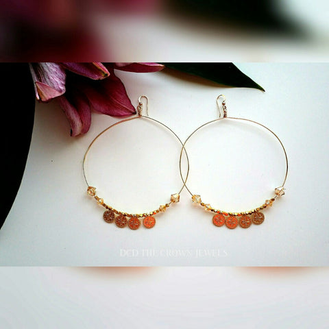 SWAROVSKI GOLD COIN HOOPS
