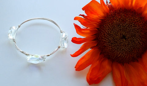 STERLING SILVER THREE CRYSTAL BANGLE