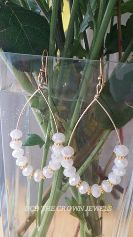 WHITE OPAL CRYSTAL GOLD HOOPS