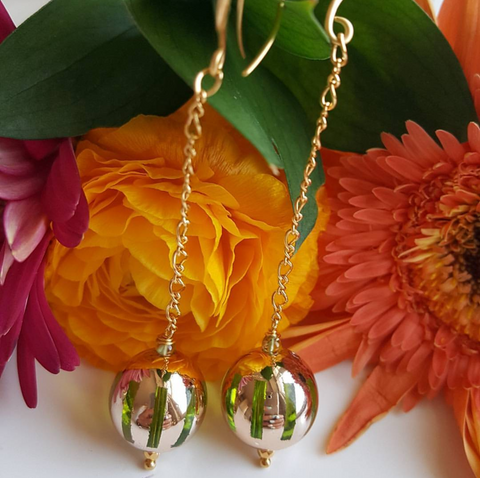 GREEN LONG 14K CHAIN DROP EARRINGS