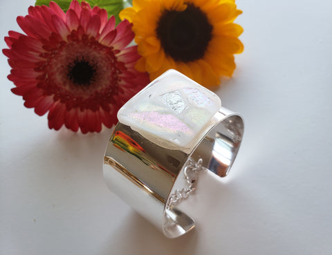 THE WHITE DICHROIC GLASS SILVER CUFF