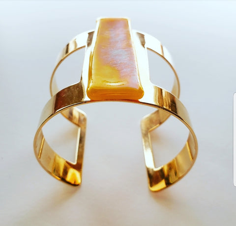 THE LONG YELLOW GLASS CUFF BRACELET