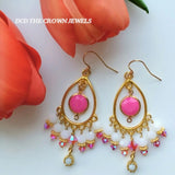 THE PINK LOTUS CHANDELIER EARRINGS
