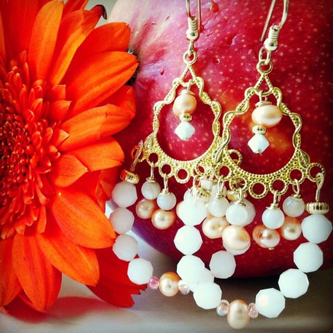 SWAROVSKI CRYSTAL PEACH CHANDELIER EARRINGS