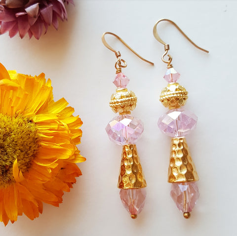 PINK CRYSTAL GOLD EARRINGS