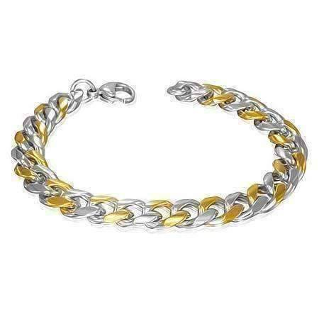 gold silver stainless steel link men's chain bracelet