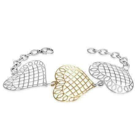 heart gold silver stainless steel chain bracelet