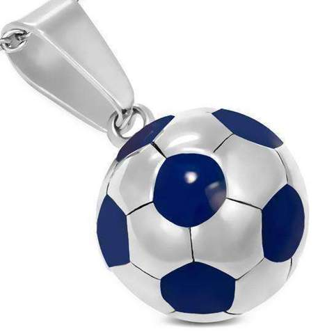 soccer ball silver stainless steel blue charm necklace