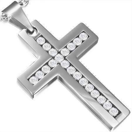 cross diamond stainless steel necklace charm
